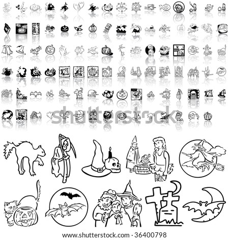 Halloween set of black sketch. Part 3. Isolated groups and layers. - stock vector