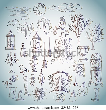 Halloween. Set of  hand drawn elements. Can be used for backgrounds and cards of Halloween decorations. Pumpkin, cat, ghost, hours, castle, moon, autumn. Vector Illustration - stock vector