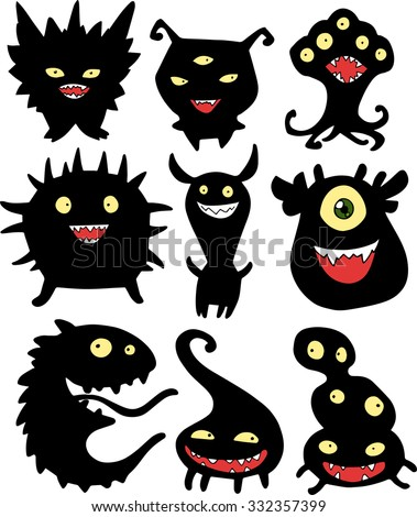 Halloween set of illustrations of different green monsters, bacteria, germs, aliens and ghosts in black silhouette