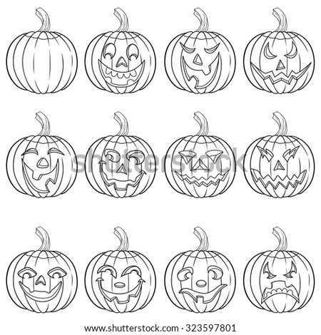 halloween set of six funny smiling pumpkin outlines with various face characters isolated on a white - Halloween Pumpkin Outline