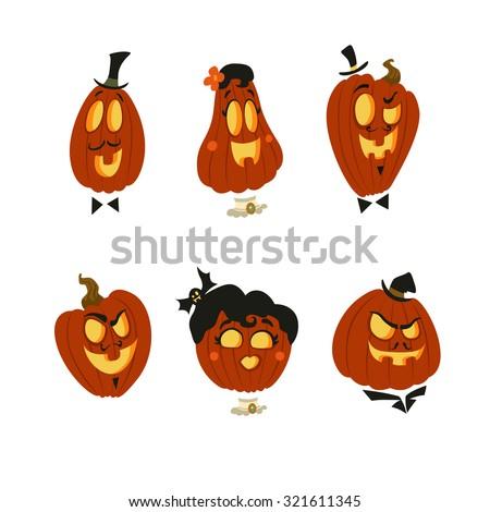 Halloween set of smiling pumpkin lanterns - stock vector