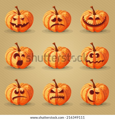 Halloween set. Pumpkins, facial expressions, emotions.  - stock vector