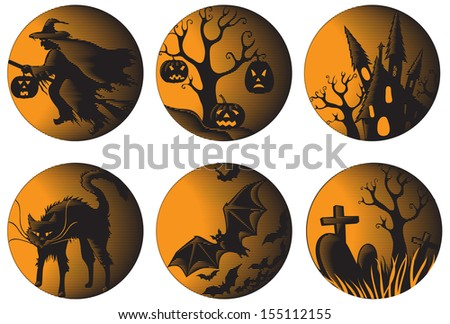 Halloween set. Six vector halloween pictures at engraving style  - stock vector