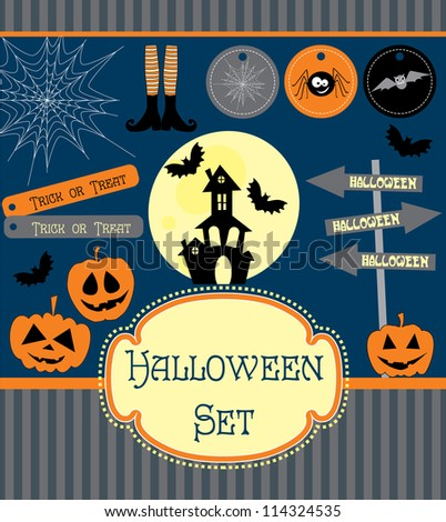 halloween set. vector illustration - stock vector
