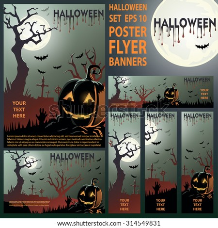 Halloween set. Vector Illustration. Halloween Night Party. Set of banners, poster, and flyer. EPS 10 - stock vector