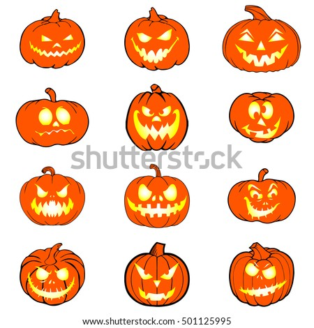 Halloween set with pumpkins. Emotion Variation. Vector illustration