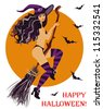 Halloween sexual witch flying on a broom, vector illustration - stock vector