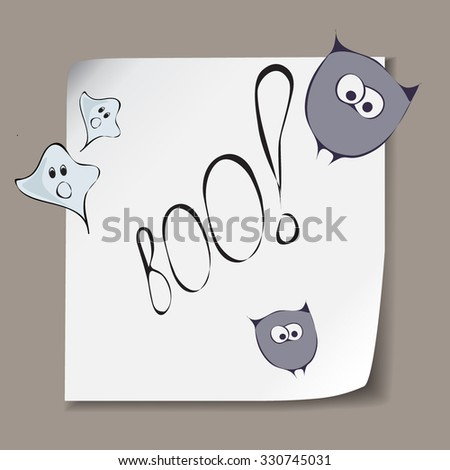 Halloween sheet template with stylized funny violet owls and blue ghosts.Festive design elements with lettering for invitation,banners,cards,stickers and poster.Trick and treat concept. - stock vector