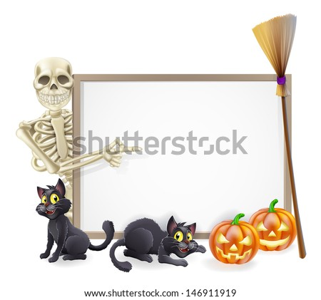 Halloween sign or banner with orange Halloween pumpkins and black witch's cats, witch's broom stick and cartoon skeleton character  - stock vector
