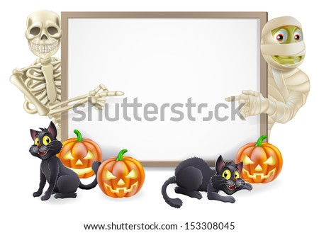 Halloween sign or banner with orange Halloween pumpkins and black witch's cats, witch's broom stick and cartoon skeleton and mummy characters  - stock vector