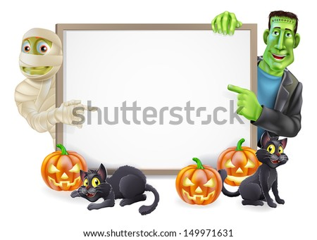 Halloween sign or banner with orange Halloween pumpkins and black witch's cats, witch's broomstick and cartoon Frankenstein monster and mummy characters - stock vector