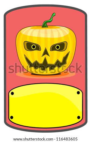 halloween sign,rectangular plate of pumpkin