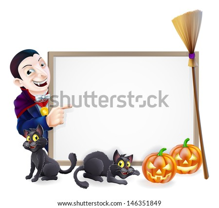 Halloween sign with orange Halloween pumpkins and black witch's cats, witch's broom stick and cartoon Dracula Vampire Character - stock vector