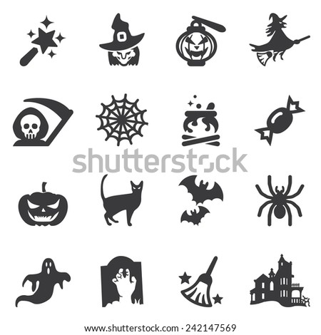 Halloween Silhouette Icons - stock vector