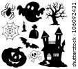 Halloween silhouettes collection 1 - vector illustration. - stock vector