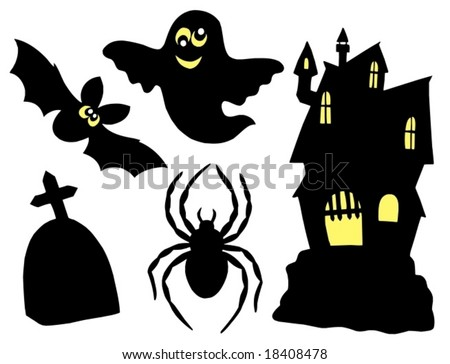 Halloween silhouettes collection - vector illustration. - stock vector