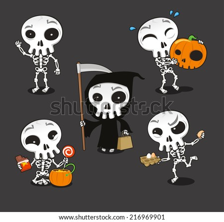 Halloween Skeleton vector cartoon illustration - stock vector
