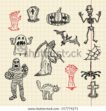 Halloween sketch set for your design, vector illustration, eps10, 2 layers