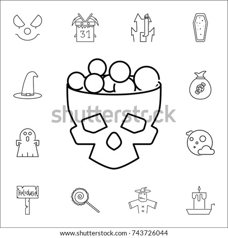 Halloween Skull Bucket Filled Sweets Candy Stock Vector