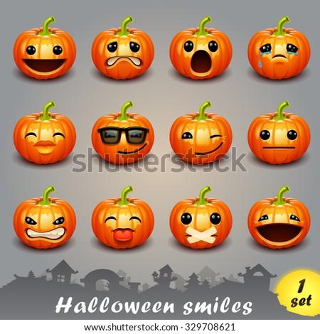Halloween smiles-set 1 - stock vector