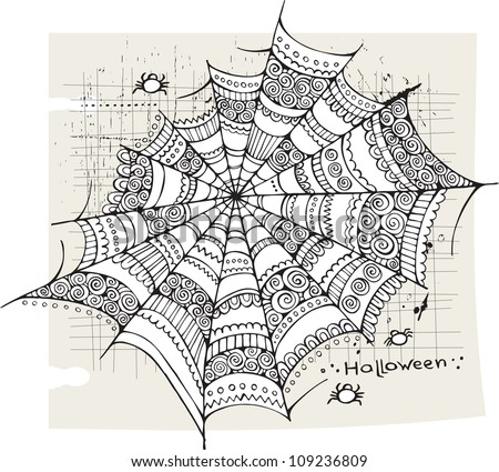 Halloween spider web background - stock vector