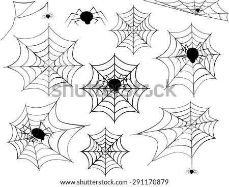 Halloween Spider Web Collection-Collection of different Halloween spider webs and different spiders including corner spider webs, hanging spiders and a variety of other spider webs - stock vector
