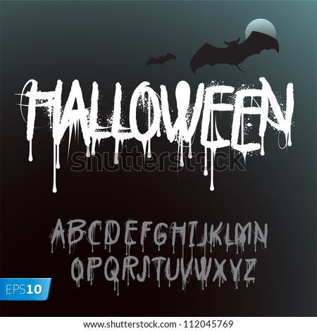 Halloween Splash Alphabet, vector Eps10 illustration. - stock vector