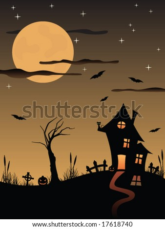 Halloween spooky house - stock vector
