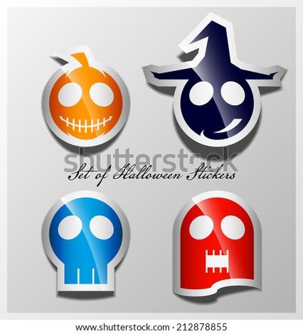 Halloween sticker symbols collection. - stock vector