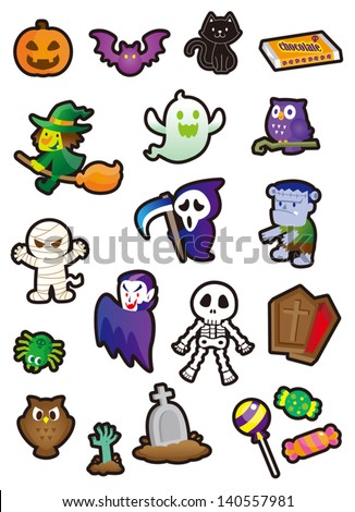 Halloween Stickers and so cute - stock vector