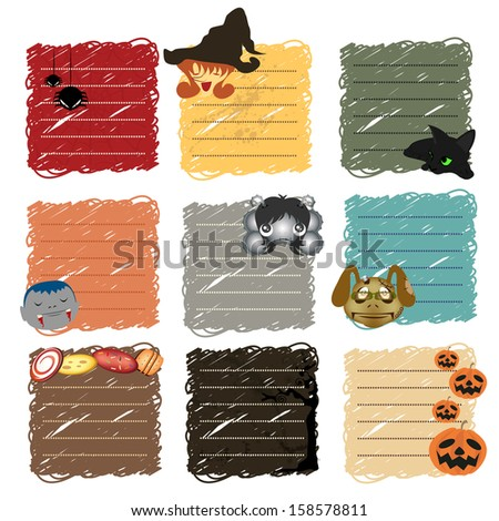 halloween stickers note - stock vector