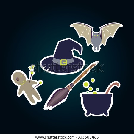 Halloween stickers. Witch magic stuff. - stock vector