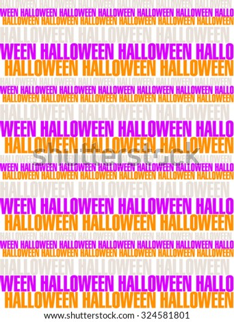 Halloween striped background vector illustration. Typography background. Seamless pattern. White background with purple and orange text.