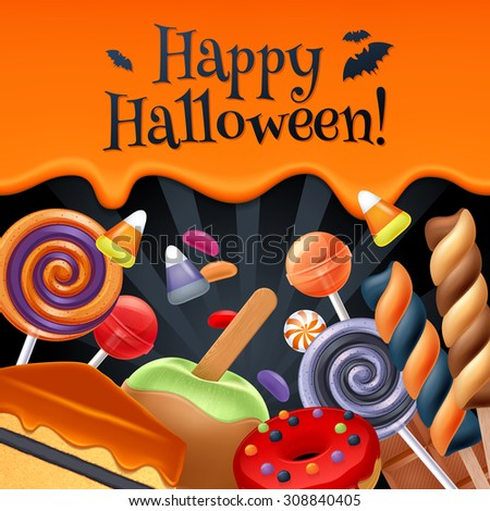 Halloween sweets colorful party background. Lollipop candy corn cake caramel apple jelly bean donut chocolate, good for holiday design. Dripping orange background with greetings. - stock vector