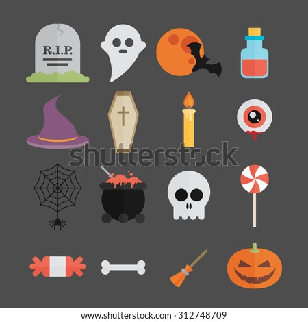Halloween symbol illustration set vector - stock vector