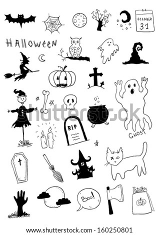 Halloween symbols - stock vector