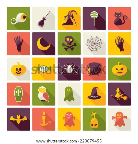 Halloween symbols collection. Flat icons. Horrendous holiday