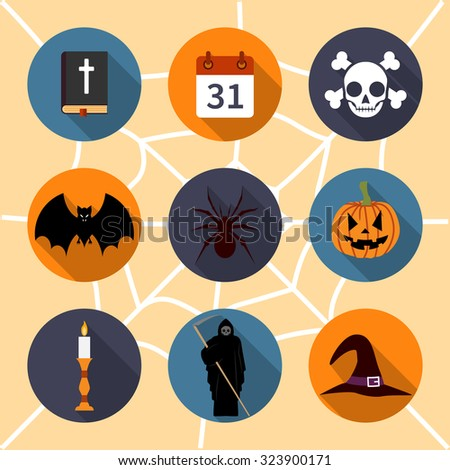 Halloween symbols. collection icons, flat style, vector illustration. - stock vector