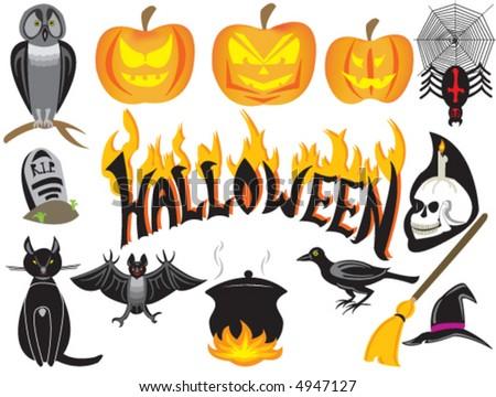 halloween symbols isolated over white - stock vector