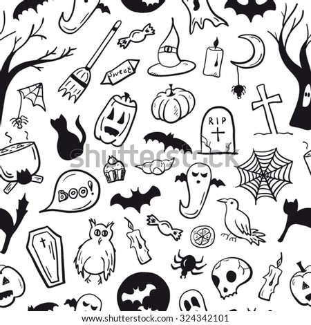 Halloween symbols seamless pattern black and white - stock vector