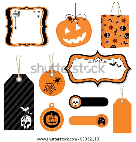halloween tags, frames and bag isolated on white - stock vector