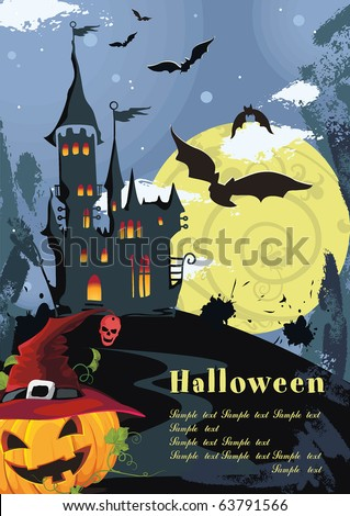Halloween terrible Vector background with Place for your text. Abstract Classical autumn card with pumpkin and castle. - stock vector