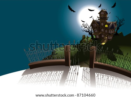 Halloween Terror House - stock vector
