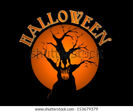 Halloween text over spooky tree and text inside orange full moon background. EPS10 vector file organized in layers for easy editing. - stock vector