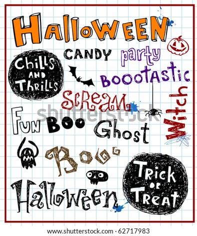 halloween text, vector doodles - stock vector