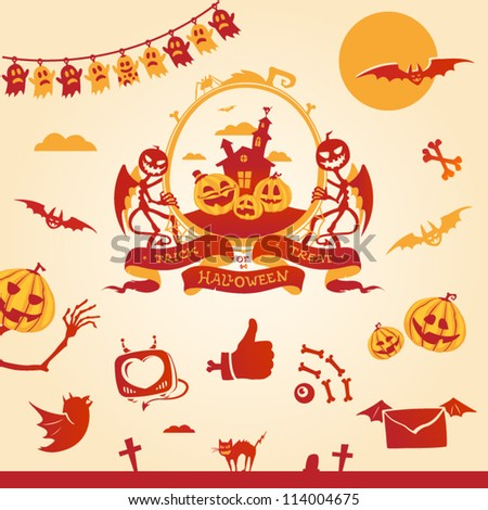 Halloween theme. Vector elements and icons. - stock vector