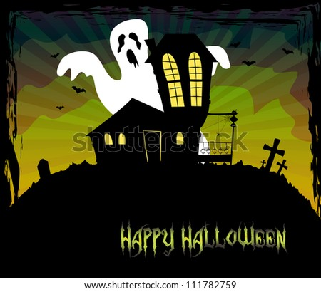 Halloween theme with a scary house and a ghost standing behind, vector, EPS 10 - stock vector