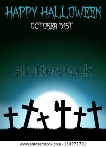 Halloween theme with blue moon on graveyard - stock vector