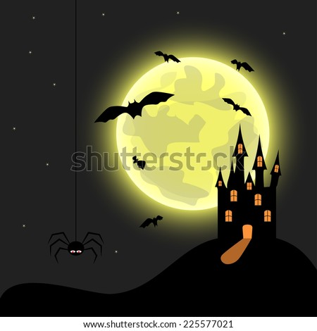 Halloween theme with castle. Vector illustration.