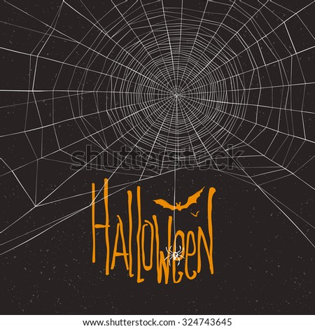 Halloween themed background with spider web and text - stock vector